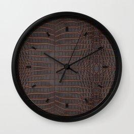 Chestnut Nile Crocodile Leather Print Wall Clock