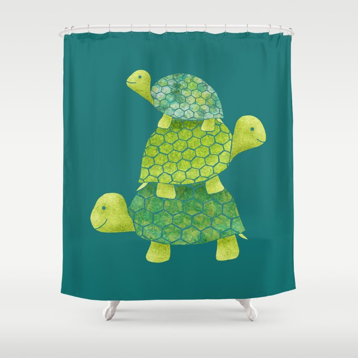 Turtle Stack Family In Teal And Lime Green Shower Curtain By Elephanttrunkstudio