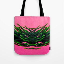 Flying green plant on pink Tote Bag