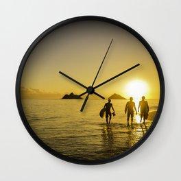 Sunrise Surfers Wall Clock