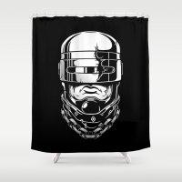 robocop Shower Curtains featuring Hey, Robocop! by OneAppleInBox