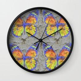 SHABBY CHIC YELLOW & BLUE BUTTERFLIES Wall Clock