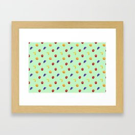 Cute Fruit Green Gingham Framed Art Print