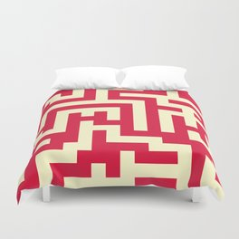 Cream Yellow and Crimson Red Labyrinth Duvet Cover