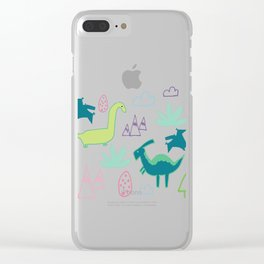 Dino Fun land Black Clear iPhone Case