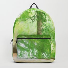 Beautiful green maple in summer day Backpack