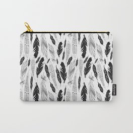 raphic pattern feathers on a white background Carry-All Pouch