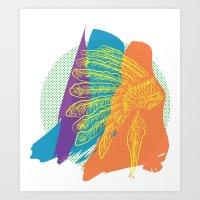 headdress Art Prints featuring Headdress  by kiersten patron