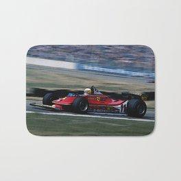 Sketch of F1 Champion Jody Scheckter - year 1979 car 312 T4 Bath Mat