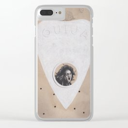 Ouija Planchette with Screaming Spirit Stuck Inside with Stars Clear iPhone Case