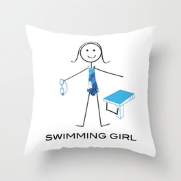 Funny Womens Swimming Girl Throw Pillow