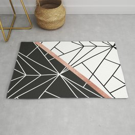 Modern geometrical abstract rose gold black white stripes Rug