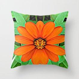 Orange Guardian Flower Throw Pillow