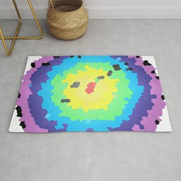 Round mosaic stained glass window with colored circles and white background Rug