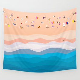 Beach Day   Aerial Illustration Wall Tapestry