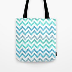 Summer Waves | Faux blue turquoise glitter chevron pattenr Tote Bag
