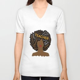 Natural Hair Afro for African American Teachers Unisex V-Neck