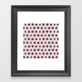 Suit (Card) Pattern -  Red & Black Spades, Hearts, Diamonds and Clubs Framed Art Print