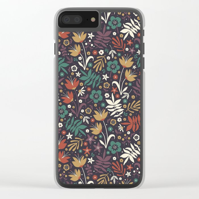 Midnight Florals Clear iPhone Case