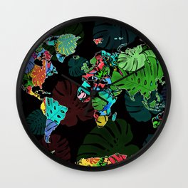 world map tropical leaves Wall Clock