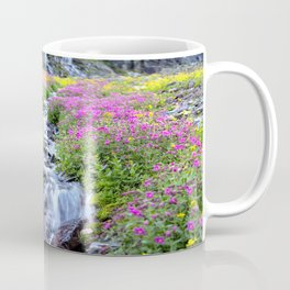Pink & Yellow Wildflowers Waterfall Wide Coffee Mug