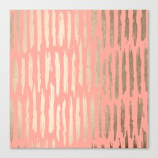 Vertical Dash Tahitian Gold on Coral Pink Stripes Canvas Print