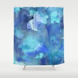 Blue Abstract Watercolor Painting Shower Curtain