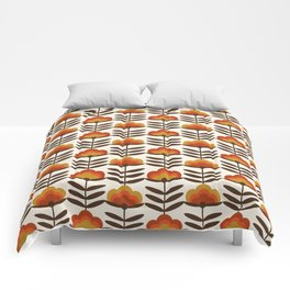 Boogie - retro florals minimal trendy 70s style throwback flower pattern Comforters