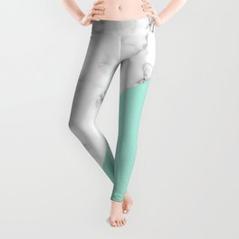 ABSTRACT MODERN TURQUOISE GLASS MARBLE Leggings