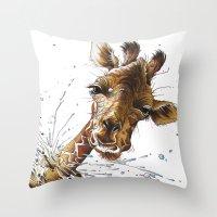giraffe Throw Pillows featuring Giraffe by TAOJB