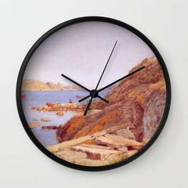 Hans Gude Painting -  Landskap Ved Stavern 1884    Reproduction   Norwegian Art Wall Clock