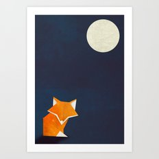 Origami Fox and Moon Art Print