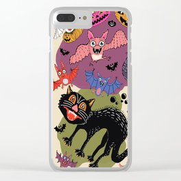 batty, catty and fishy(?!) for Halloween! Clear iPhone Case