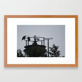 Eagles on a Lighthouse Framed Art Print