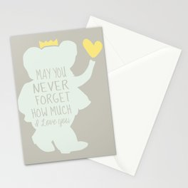 Babar inspired-May you never forget how much I love you Stationery Cards