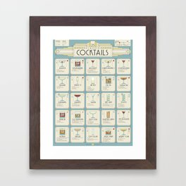 Art Deco Cocktail Recipe Poster Framed Art Print