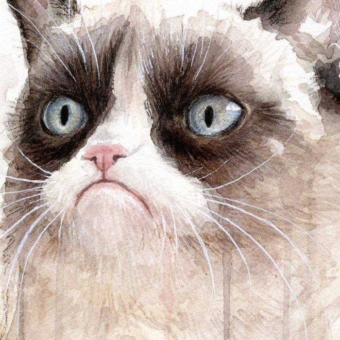 Grumpy Watercolor Cat Geek Meme Whimsical Animals Leggings