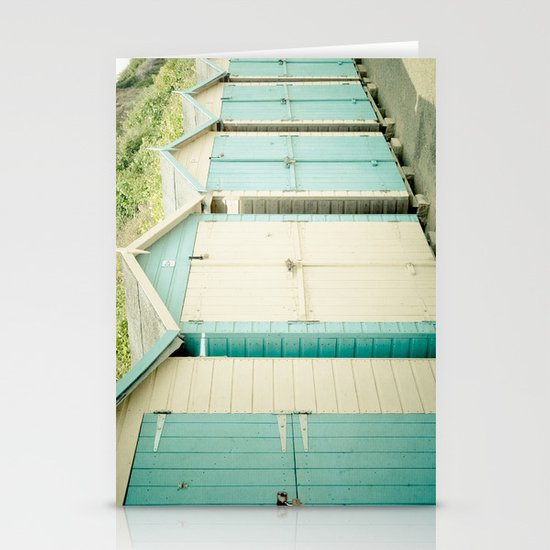 Duck Egg Blue and Cream Beach Huts Stationery Cards