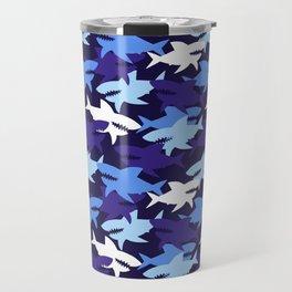 Blue Sharks Camouflage Pattern Travel Mug