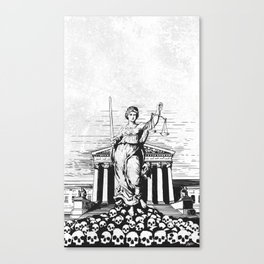 The Skulls of Justice B&W Canvas Print