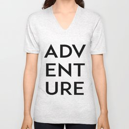Inspirational Quote Travel Quote ADVENTURE Print Watercolor Letters Typography Print Wall Art Unisex V-Neck