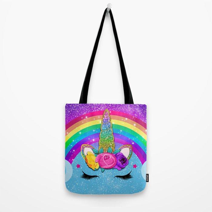 Rainbow Sparkle Unicorn Tote Bag