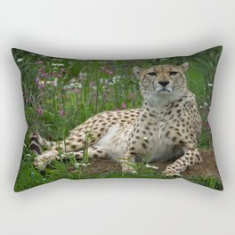 Cheetah Amidst Spring Flowers Rectangular Pillow