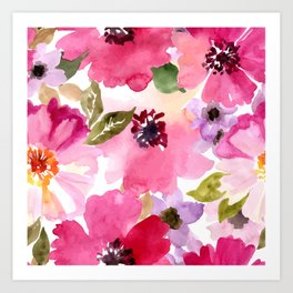 Watercolor Flowers Pink Fuchsia Art Print