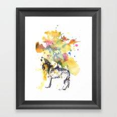 Howling Wolf in Splash of Color Framed Art Print