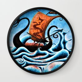 Viking ship with orange sale (Abstract) Wall Clock