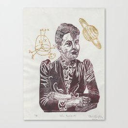 Mathematician Sofia Kovalevski Linocut with Kovalevski Top and Saturn Canvas Print