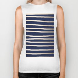 Drawn Stripes White Gold Sands on Nautical Navy Blue Biker Tank