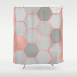 Honeycomb on Rose Gold Shower Curtain