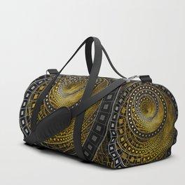 Golden Film Strips in Noir Nested Fractal Circles Duffle Bag